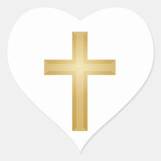 Guld- kristenkor hjärtformat klistermärke