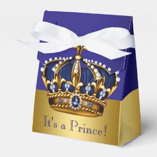 Guld- kronprinsbaby shower för blått presentaskar