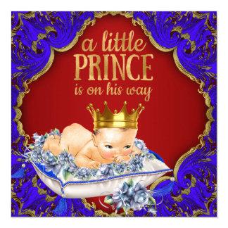 Guld- kunglig Prince baby shower för dyrbara röda Fyrkantigt 13,3 Cm Inbjudningskort