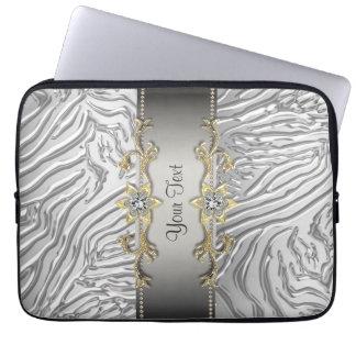 Guld- laptop sleeve för diamantsilversebra laptop datorfodral