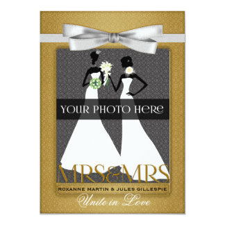 Guld- lesbiska glada brudar för bröllopinbjudan 12,7 x 17,8 cm inbjudningskort