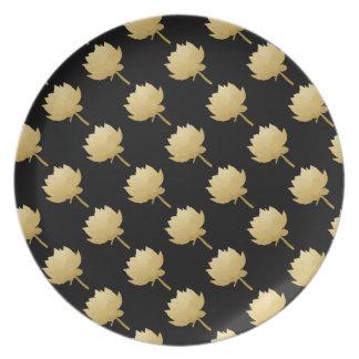 Guld- lotusblomma tallrik