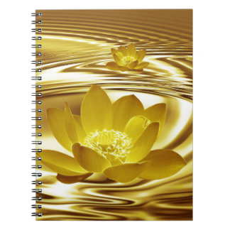 Guld- lotusblommablomma anteckningsbok