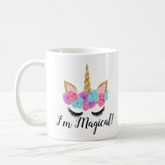 Guld- Magical Unicornflickor för blommor Kaffemugg