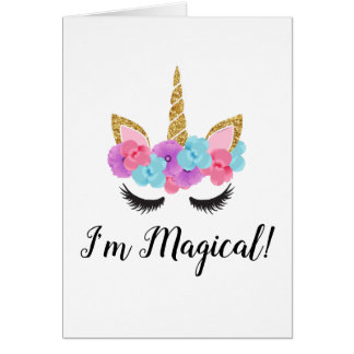 Guld- Magical Unicornflickor för blommor OBS Kort