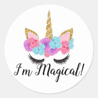 Guld- Magical Unicornflickor för blommor Runt Klistermärke