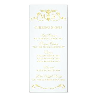Guld- mall för meny för bröllopmiddag 10,2 x 23,5 cm inbjudningskort