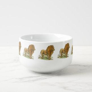 Guld- Manetecknad för lejon afrikansk katt Soppmugg