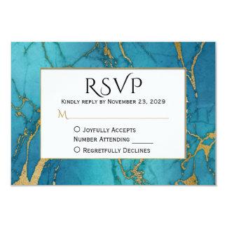 Guld- marmorOSA för blått som gifta sig svar 8,9 X 12,7 Cm Inbjudningskort