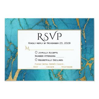 Guld- marmorOSA för blått som gifta sig svar med 8,9 X 12,7 Cm Inbjudningskort