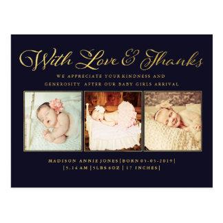 Guld med kärlek- & tackbabyfotovykortet vykort