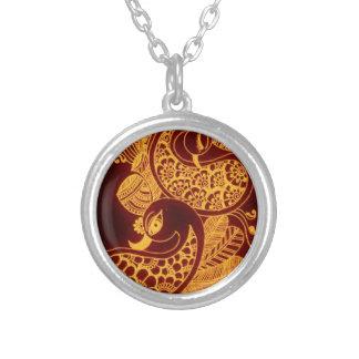 guld- mehndi silverpläterat halsband