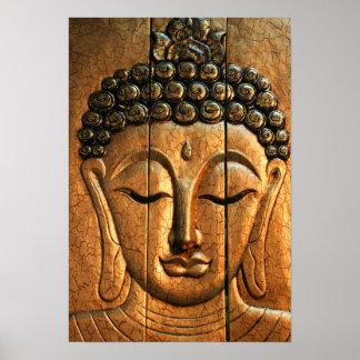 Guld- metalliska Buddha Poster