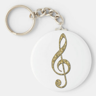 Guld- metallTrebleklav Rund Nyckelring