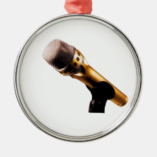 Guld- mikrofon julgransprydnad metall