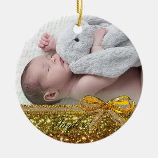 Guld- minnessak för prydnad för band- & julgransprydnad keramik