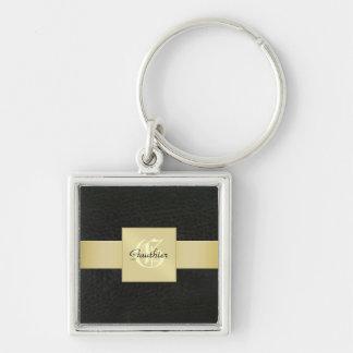 Guld- Monogramfars dag Keychain för svart läder Fyrkantig Silverfärgad Nyckelring
