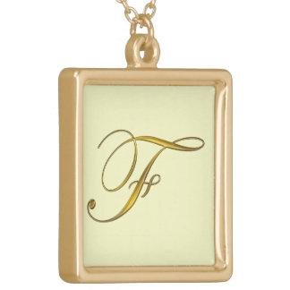 Guld- Monograms märka med sina initialer Guldpläterat Halsband