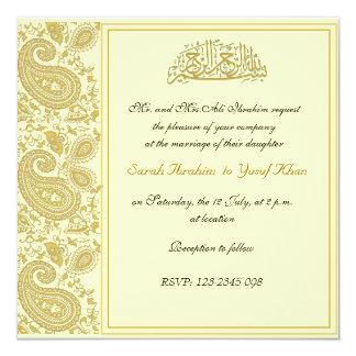 Guld- Muslimbröllop Fyrkantigt 13,3 Cm Inbjudningskort