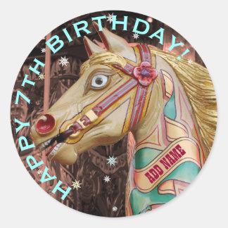 Guld- nöjesplatshäst, beställnings- födelsedag runt klistermärke