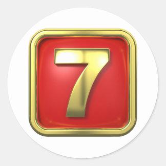 Guld numrerar sju klistermärkear runt klistermärke