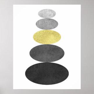 Guld- och för svartzenpebblen konst skrivar ut poster