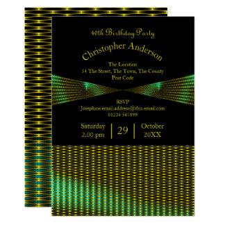 Guld och gröntmönsterfödelsedag 12,7 x 17,8 cm inbjudningskort