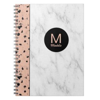 Guld och marmor för trendig rosa med monogramen spiral anteckningsböcker