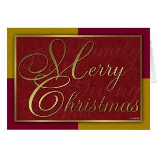 Guld- och röd julkort hälsningskort