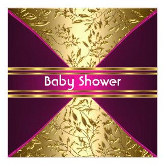 Guld- och rosa baby showerinbjudan