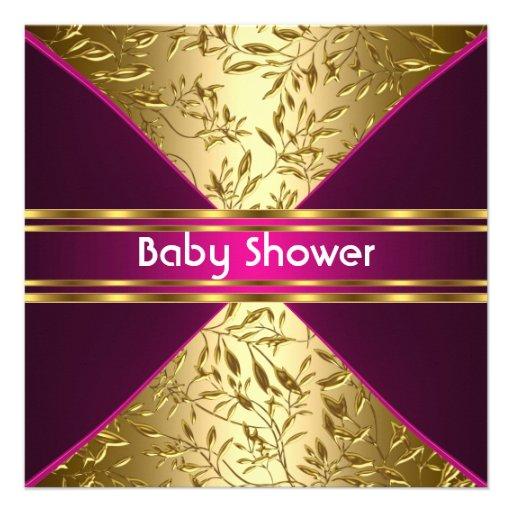 Guld- och rosa baby showerinbjudan individuella inbjudningskort