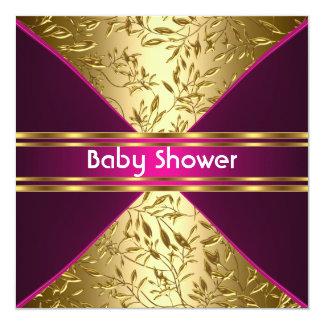 Guld- och rosa baby showerinbjudan fyrkantigt 13,3 cm inbjudningskort