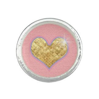 guld- och rosa hjärta foto ring