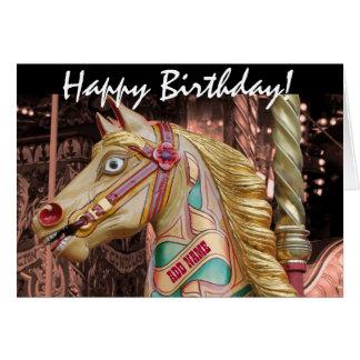 Guld- och rosa vintagekarusellGalloper häst Hälsningskort