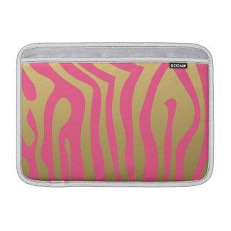 Guld- och rosa zebra rändermönster sleeves för MacBook air