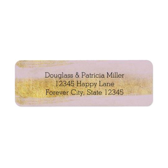 Guld- och rosarandar returadress etikett