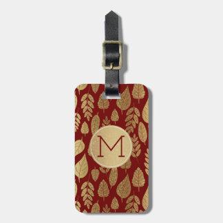 Guld- och rött lövmönster & Monogram Bagagebricka