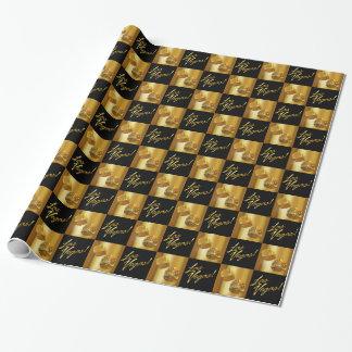 Guld och svart Las Vegas rullande tärning Presentpapper