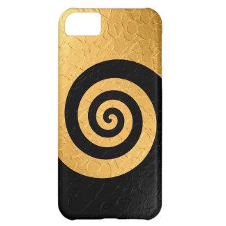 Guld- och svartspiralmönster stålsätter metalliskt iPhone 5C fodral