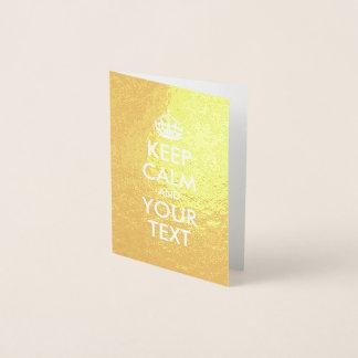 Guld- och vitbehållalugn och din text folierat kort