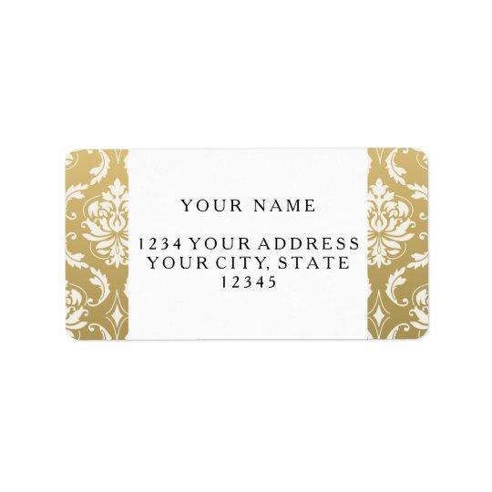 Guld- och vitklassikerdamast adressetikett