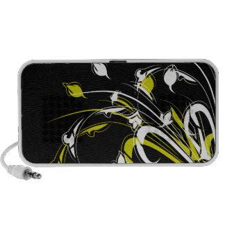 Guld- och vitväxter på svart mp3 högtalare