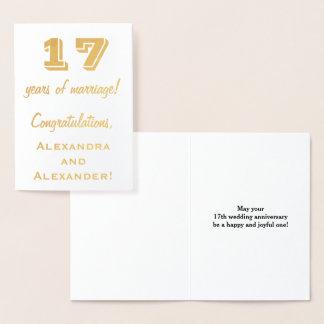 Guld omkullkastar den 17th bröllopsdagen + folierat kort