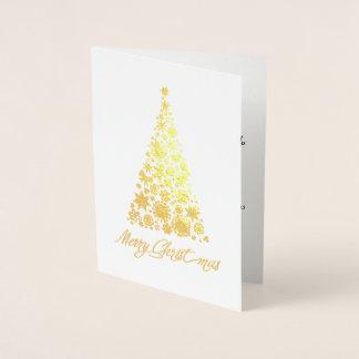 Guld omkullkastar det Retro julgranhälsningkortet Folierat Kort