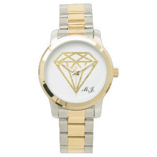 Guld omkullkastar diamanten armbandsur