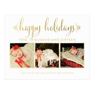Guld omkullkastar för julfotoet för babyar den 1st vykort