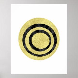 Guld omkullkastar geometrisk konst cirklar poster