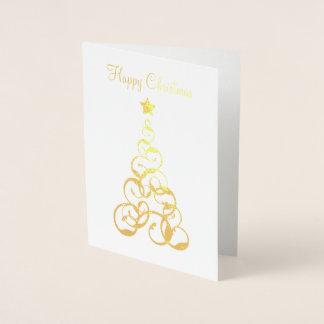 Guld omkullkastar julgranhälsningkortet folierat kort