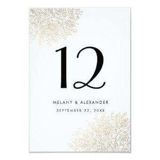 Guld omkullkastar kortet för bordsnumret för 8,9 x 12,7 cm inbjudningskort
