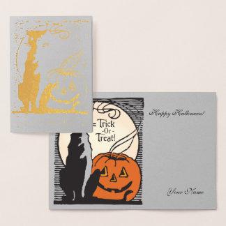 Guld omkullkastar orange pumpa, månen & folierat kort